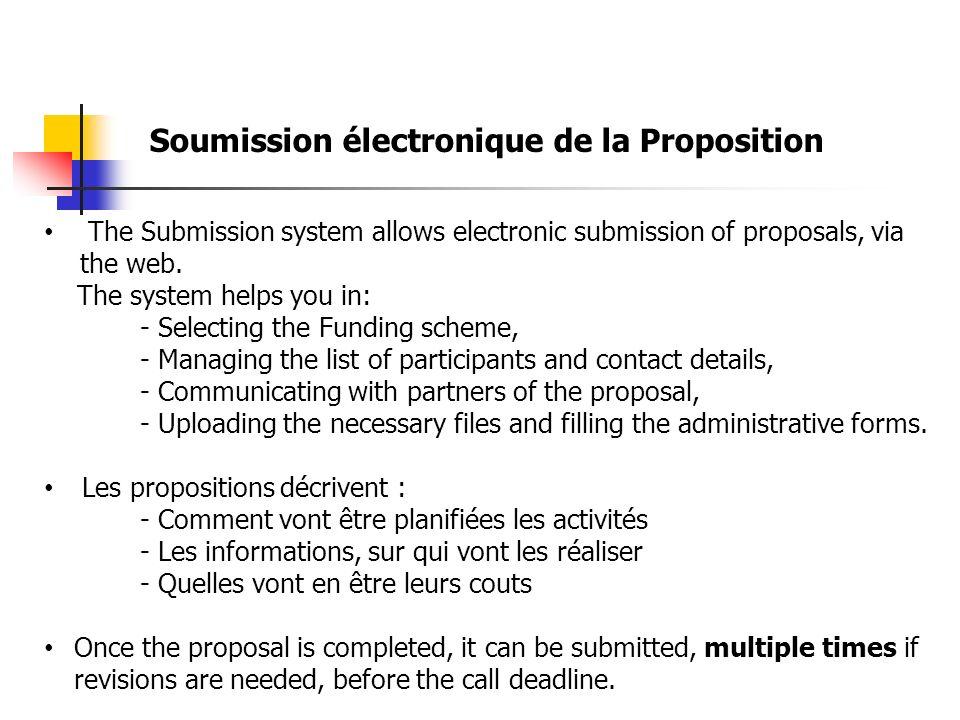 Prérogatifs de Chacun Coordinateur ; lui SEUL peut : Envoyer (UPLOAD) la partie B Soumettre (SUBMIT) la proposition Revenir à létape 4 (modifications du Consortium) Partenaires ; Peuvent : Pré-visualiser les forms Télécharger les canevas (Template) Envoyer des fichiers (Upload) Voir, les Partenaires du consortium (Organismes & contacts)