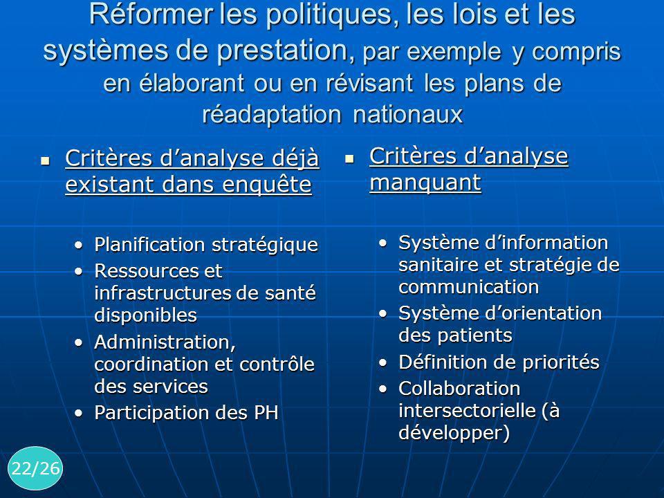 Réformer les politiques, les lois et les systèmes de prestation, par exemple y compris en élaborant ou en révisant les plans de réadaptation nationaux