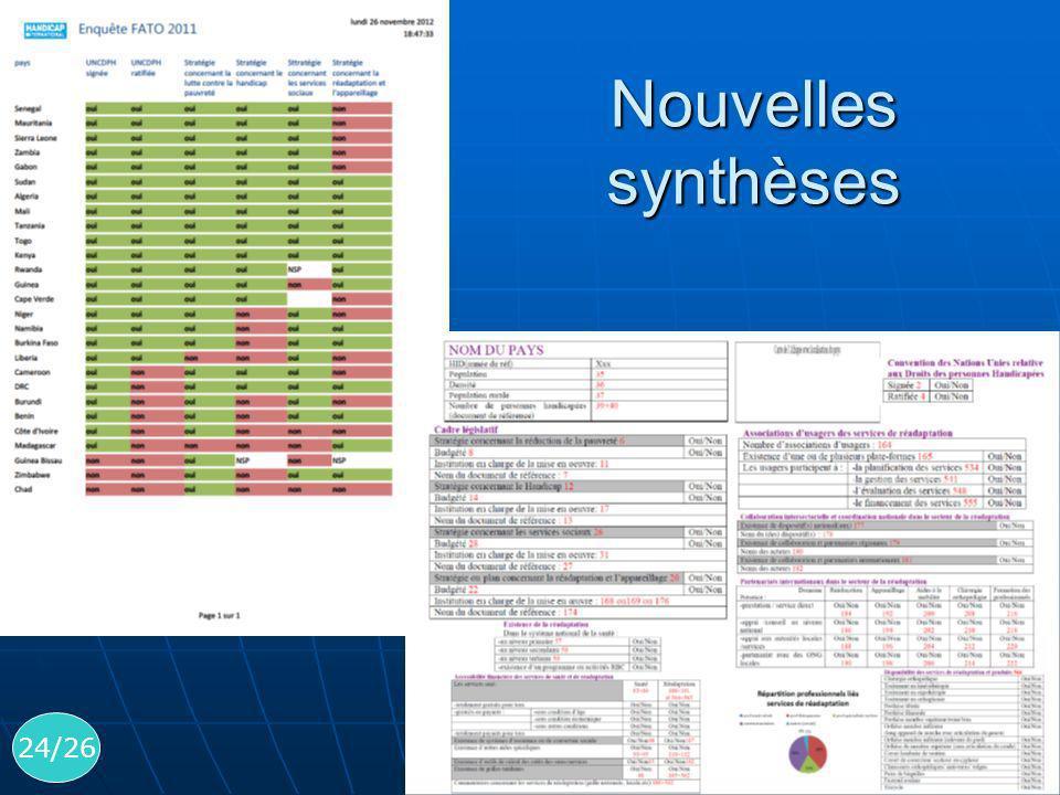 24/26 Nouvelles synthèses