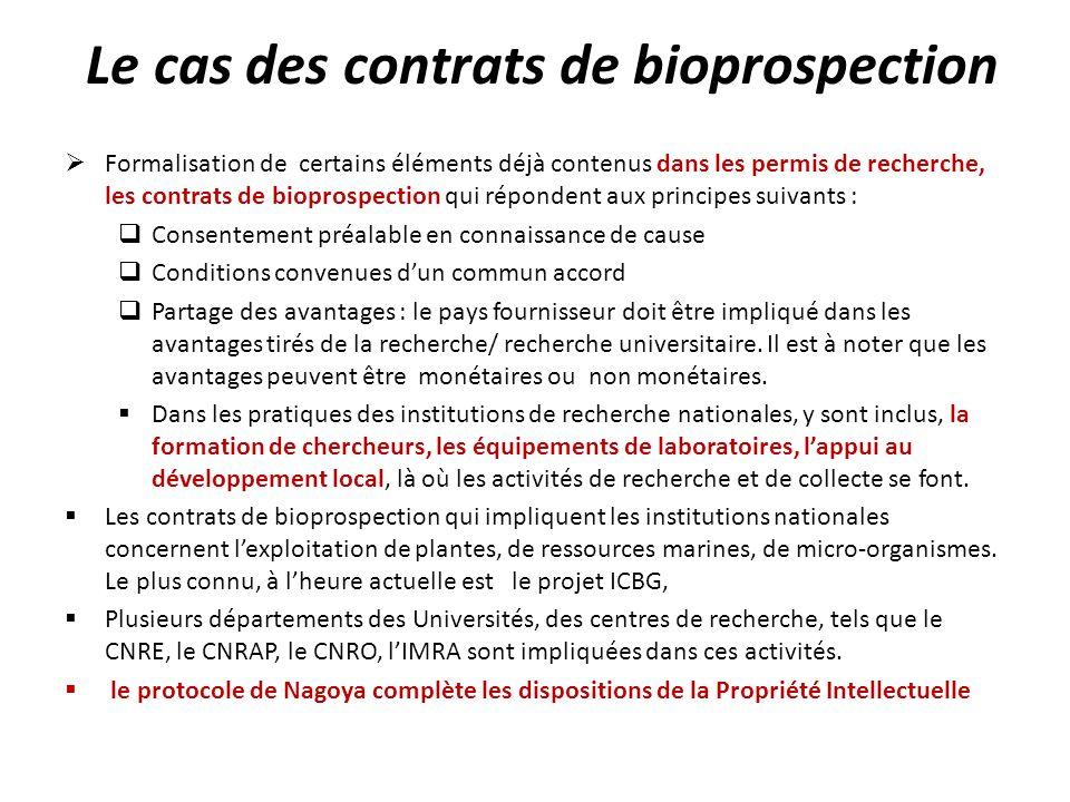Le cas des contrats de bioprospection Formalisation de certains éléments déjà contenus dans les permis de recherche, les contrats de bioprospection qu