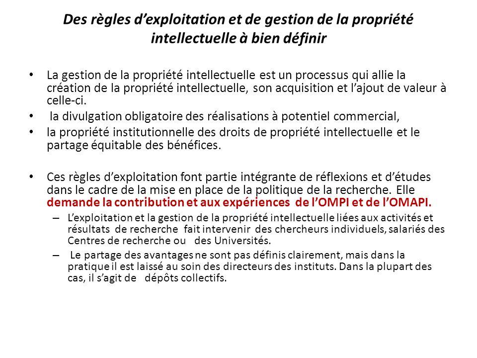 Des règles dexploitation et de gestion de la propriété intellectuelle à bien définir La gestion de la propriété intellectuelle est un processus qui al