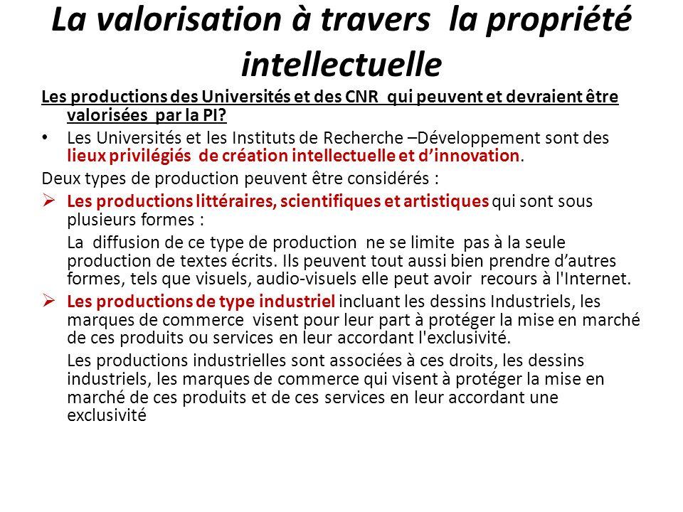 La valorisation à travers la propriété intellectuelle Les productions des Universités et des CNR qui peuvent et devraient être valorisées par la PI? L