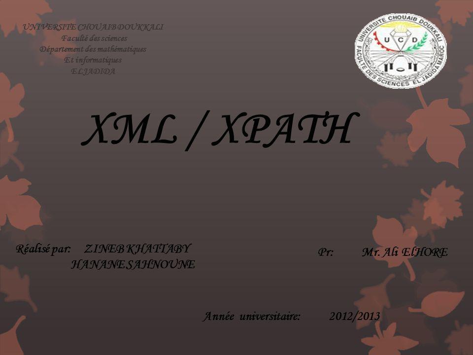 UNIVERSITE CHOUAIB DOUKKALI Faculté des sciences Département des mathématiques Et informatiques ELJADIDA Réalisé par: ZINEB KHATTABY HANANE SAHNOUNE X