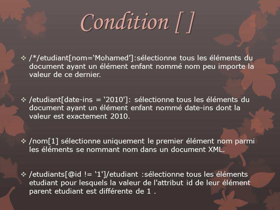 Condition [ ] /*/etudiant[nom=Mohamed]:sélectionne tous les éléments du document ayant un élément enfant nommé nom peu importe la valeur de ce dernier