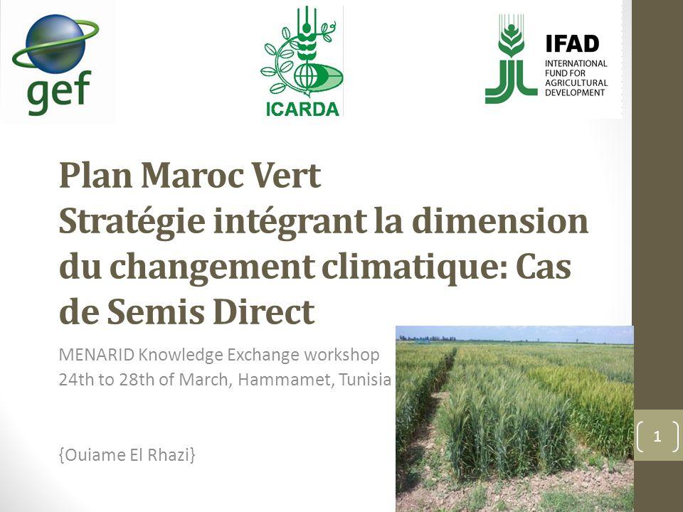Plan Maroc Vert Stratégie intégrant la dimension du changement climatique: Cas de Semis Direct MENARID Knowledge Exchange workshop 24th to 28th of March, Hammamet, Tunisia {Ouiame El Rhazi} 1