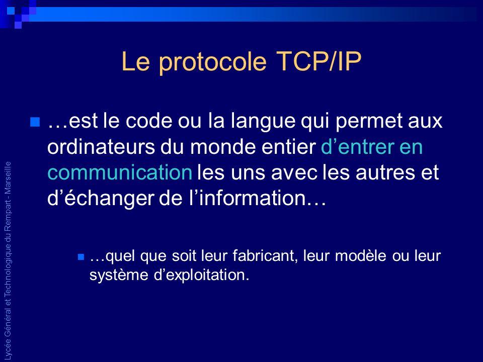 Lycée Général et Technologique du Rempart - Marseille Le protocole TCP/IP …est le code ou la langue qui permet aux ordinateurs du monde entier dentrer en communication les uns avec les autres et déchanger de linformation… …quel que soit leur fabricant, leur modèle ou leur système dexploitation.