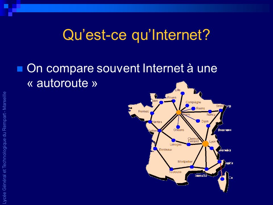 Quest-ce quInternet On compare souvent Internet à une « autoroute »