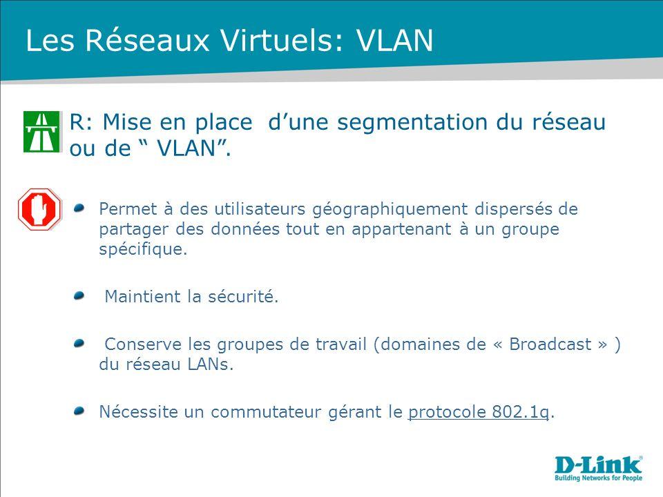 R: Mise en place dune segmentation du réseau ou de VLAN. Permet à des utilisateurs géographiquement dispersés de partager des données tout en apparten