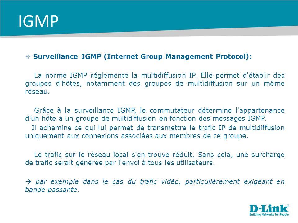 Surveillance IGMP (Internet Group Management Protocol): La norme IGMP réglemente la multidiffusion IP. Elle permet d'établir des groupes d'hôtes, nota