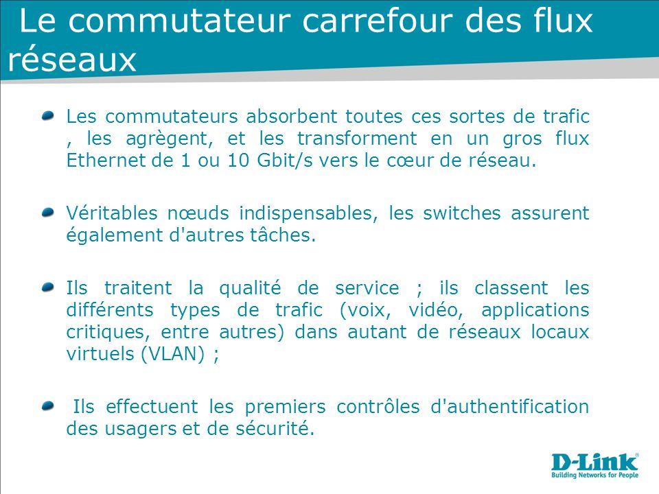 Le commutateur carrefour des flux réseaux Les commutateurs absorbent toutes ces sortes de trafic, les agrègent, et les transforment en un gros flux Et