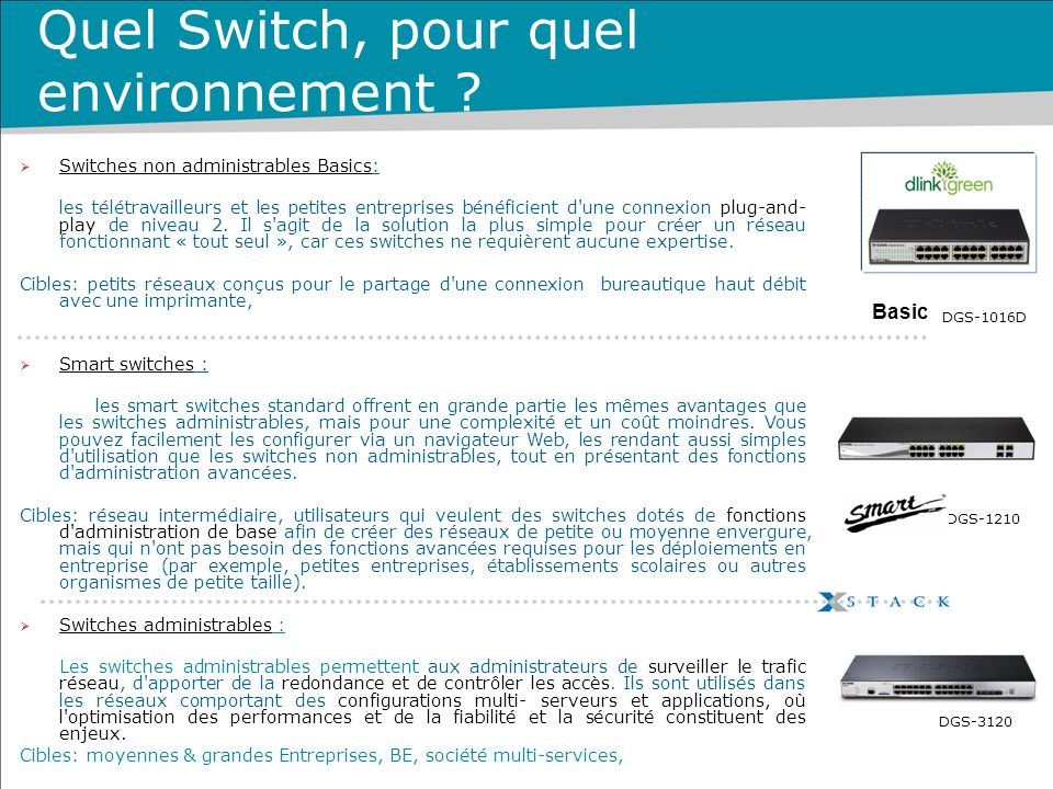 Quel Switch, pour quel environnement ? DGS-1016D DGS-3120 DGS-1210 Switches non administrables Basics: les télétravailleurs et les petites entreprises