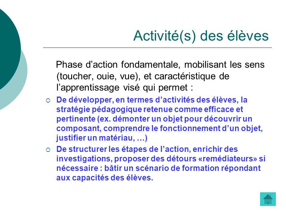 Activité(s) des élèves Phase daction fondamentale, mobilisant les sens (toucher, ouie, vue), et caractéristique de lapprentissage visé qui permet : De