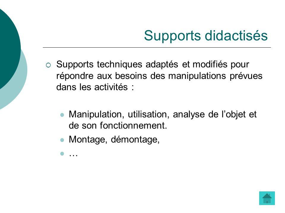 Supports didactisés Supports techniques adaptés et modifiés pour répondre aux besoins des manipulations prévues dans les activités : Manipulation, uti