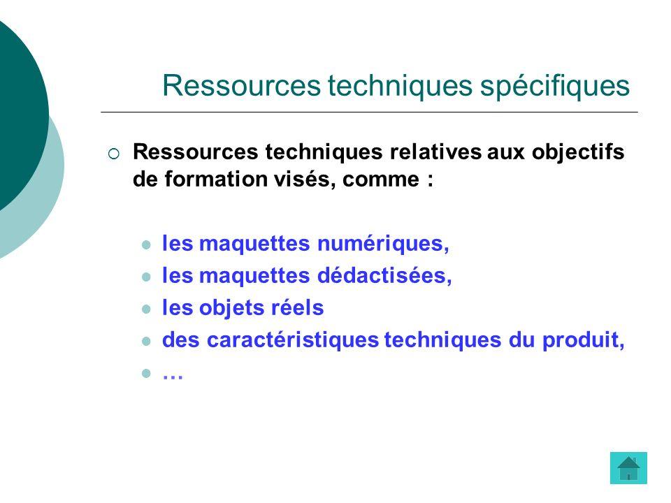 Ressources techniques spécifiques Ressources techniques relatives aux objectifs de formation visés, comme : les maquettes numériques, les maquettes dé