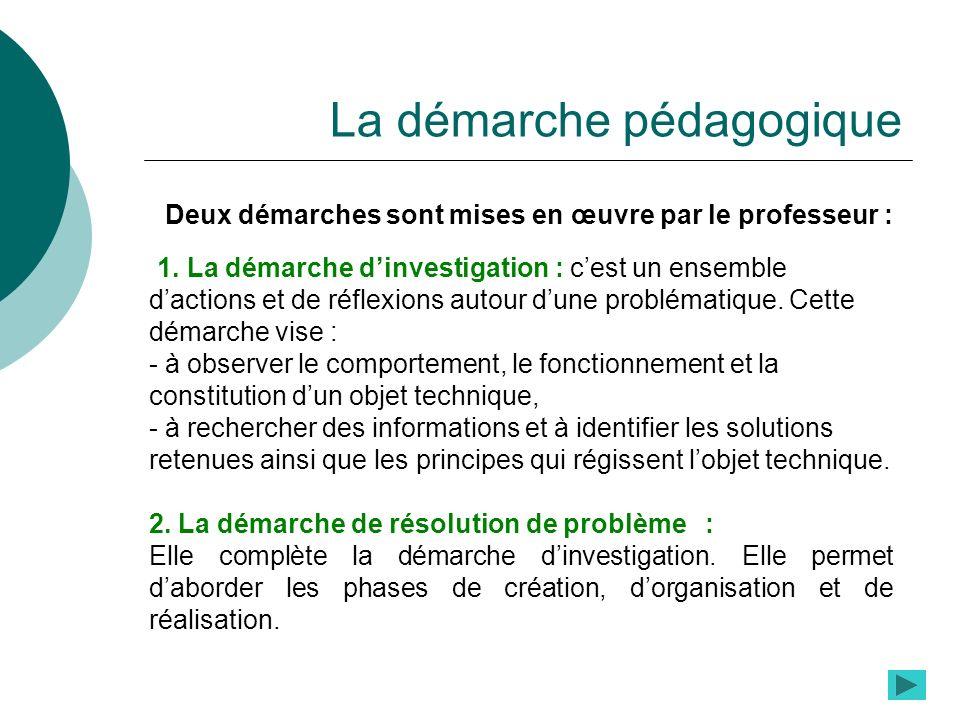 La démarche pédagogique Deux démarches sont mises en œuvre par le professeur : 1. La démarche dinvestigation : cest un ensemble dactions et de réflexi
