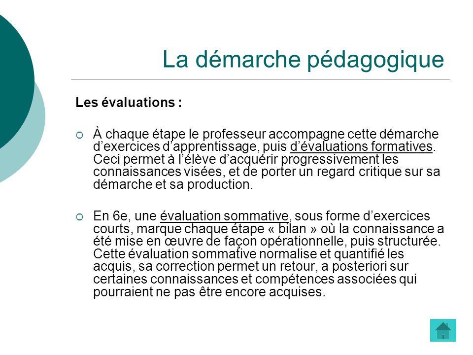La démarche pédagogique Les évaluations : À chaque étape le professeur accompagne cette démarche dexercices dapprentissage, puis dévaluations formativ