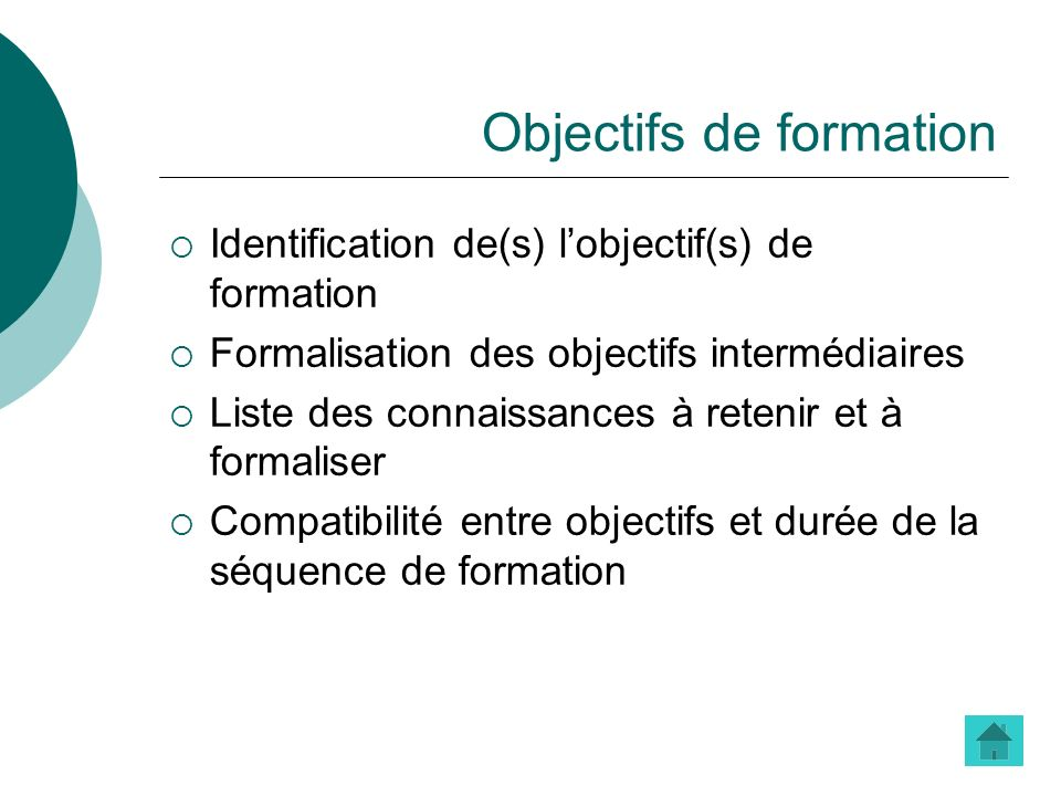 Objectifs de formation Identification de(s) lobjectif(s) de formation Formalisation des objectifs intermédiaires Liste des connaissances à retenir et
