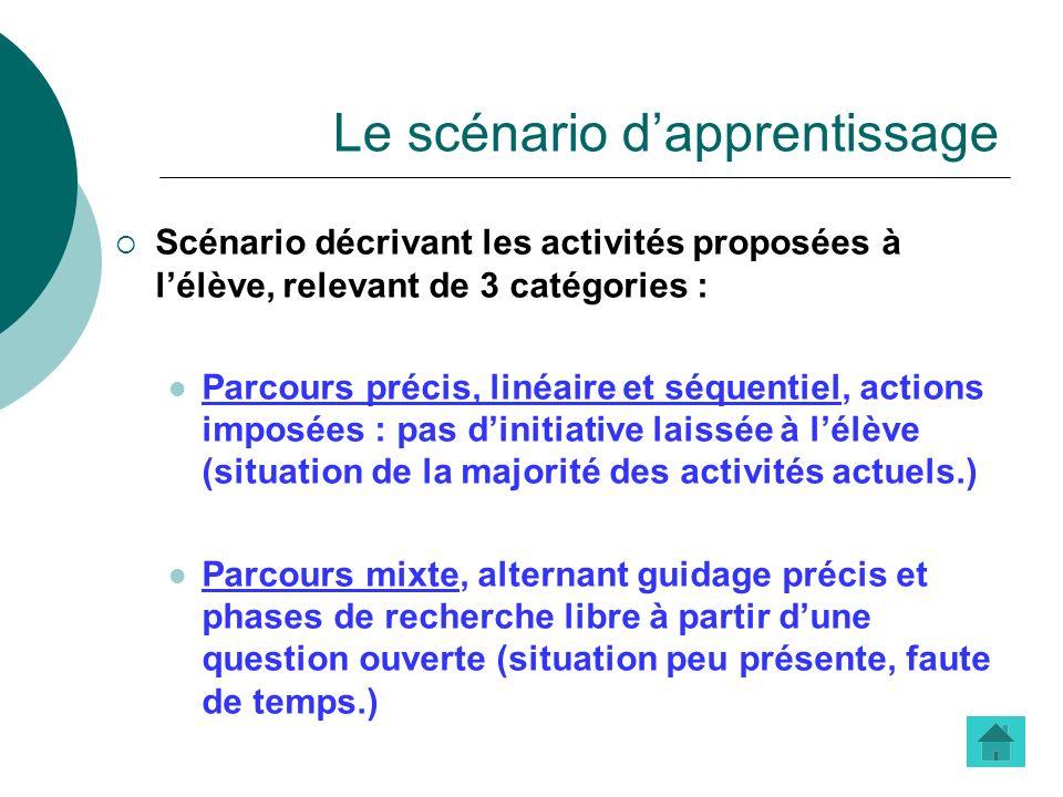 Le scénario dapprentissage Scénario décrivant les activités proposées à lélève, relevant de 3 catégories : Parcours précis, linéaire et séquentiel, ac