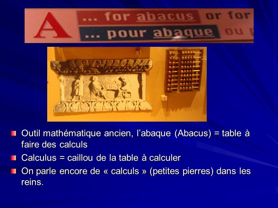 Outil mathématique ancien, labaque (Abacus) = table à faire des calculs Calculus = caillou de la table à calculer On parle encore de « calculs » (peti