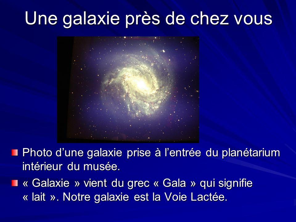 Une galaxie près de chez vous Photo dune galaxie prise à lentrée du planétarium intérieur du musée. « Galaxie » vient du grec « Gala » qui signifie «