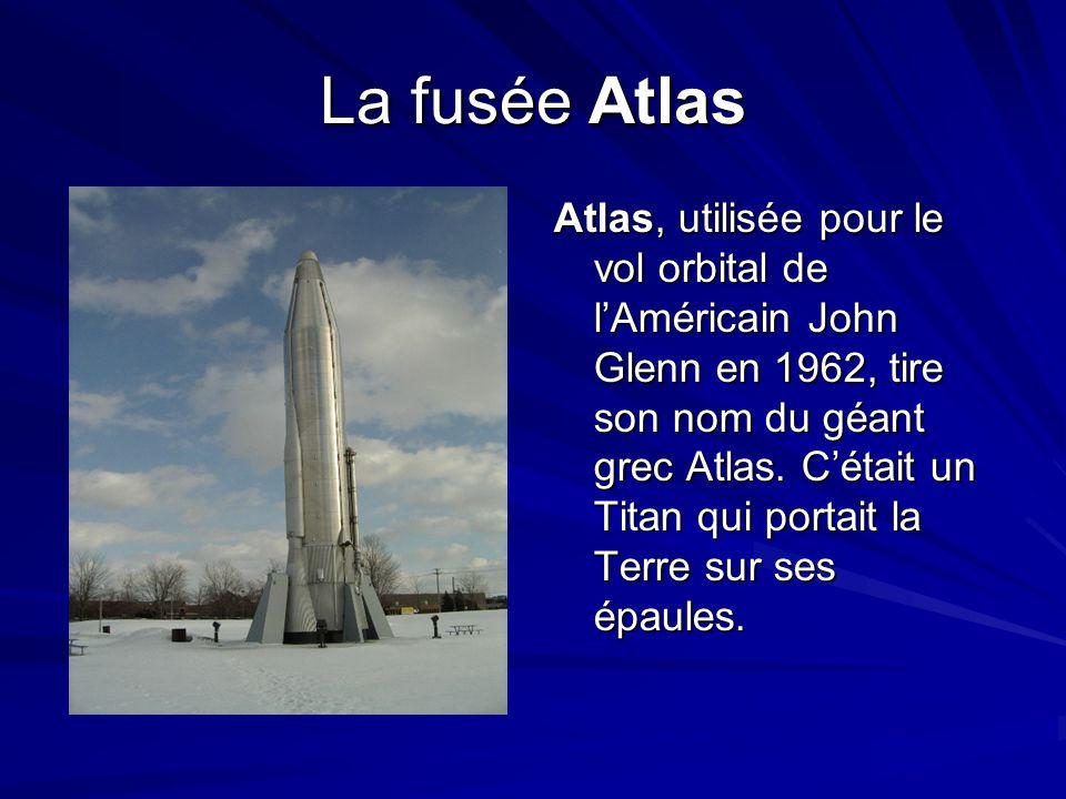 La fusée Atlas Atlas, Atlas, utilisée pour le vol orbital de lAméricain John Glenn en 1962, tire son nom du géant grec Atlas. Cétait un Titan qui port