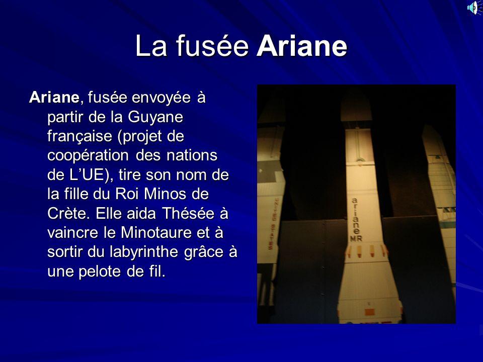 La fusée Ariane Ariane, fusée envoyée à partir de la Guyane française (projet de coopération des nations de LUE), tire son nom de la fille du Roi Mino