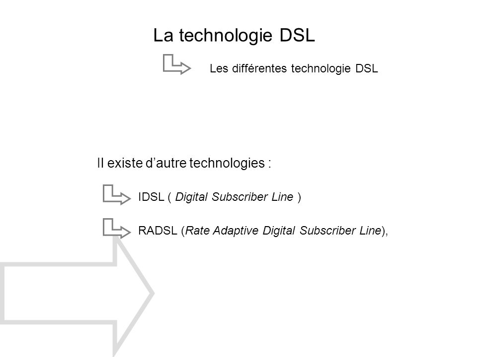 La technologie DSL Il existe dautre technologies : IDSL ( Digital Subscriber Line ) RADSL (Rate Adaptive Digital Subscriber Line), Les différentes tec