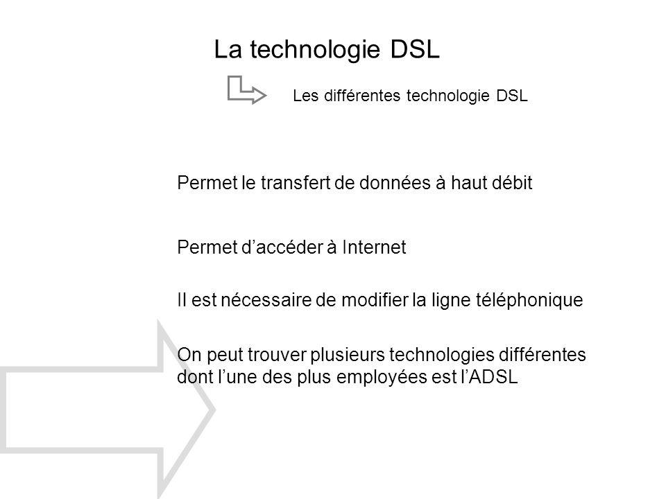 La technologie DSL Permet le transfert de données à haut débit Il est nécessaire de modifier la ligne téléphonique On peut trouver plusieurs technolog