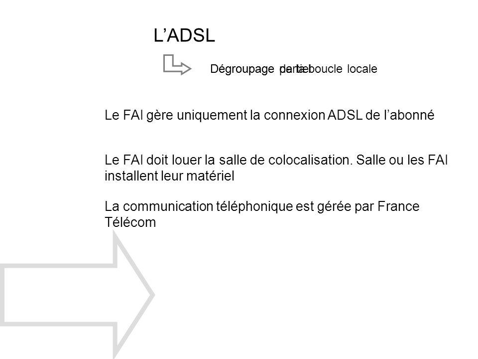 LADSL Dégroupage de la boucle localeDégroupage partiel Le FAI gère uniquement la connexion ADSL de labonné Le FAI doit louer la salle de colocalisatio