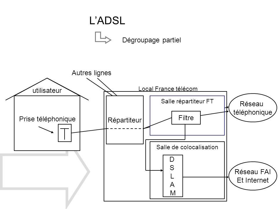 Répartiteur utilisateur Autres lignes Prise téléphonique Réseau FAI Et Internet Réseau téléphonique Local France télécom Salle répartiteur FT Salle de