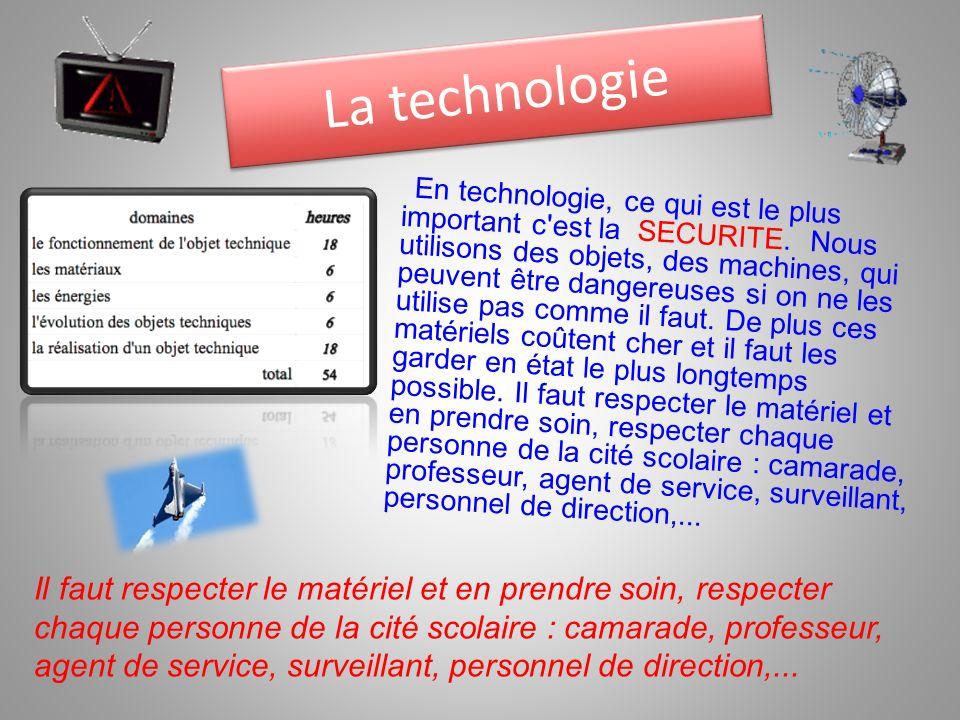 En technologie, ce qui est le plus important c'est la SECURITE. Nous utilisons des objets, des machines, qui peuvent être dangereuses si on ne les uti
