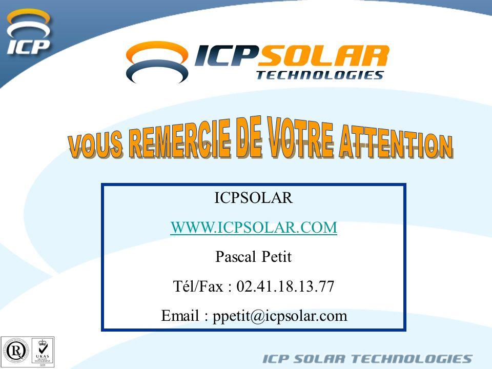 ICPSOLAR WWW.ICPSOLAR.COM Pascal Petit Tél/Fax : 02.41.18.13.77 Email : ppetit@icpsolar.com