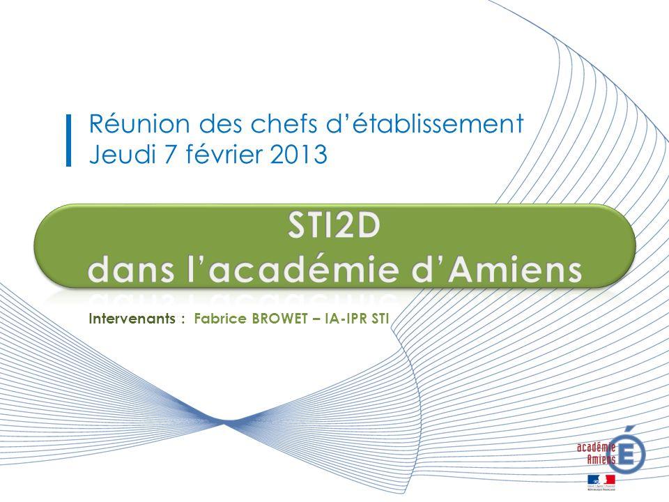 Réunion des chefs détablissement Jeudi 7 février 2013 Intervenants : Fabrice BROWET – IA-IPR STI
