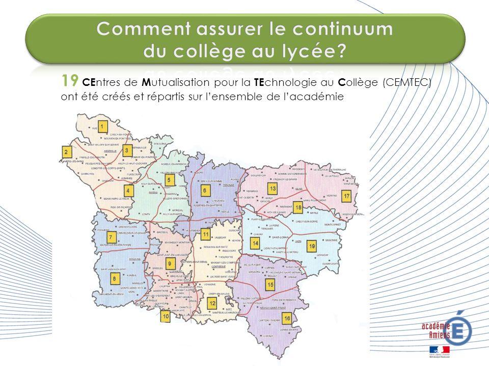 19 CE ntres de M utualisation pour la TE chnologie au C ollège (CEMTEC) ont été créés et répartis sur lensemble de lacadémie