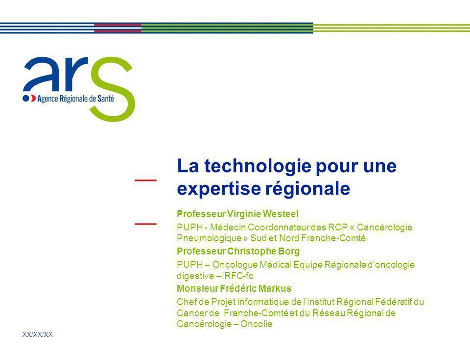 XX/XX/XX La technologie pour une expertise régionale Professeur Virginie Westeel PUPH - Médecin Coordonnateur des RCP « Cancérologie Pneumologique » S