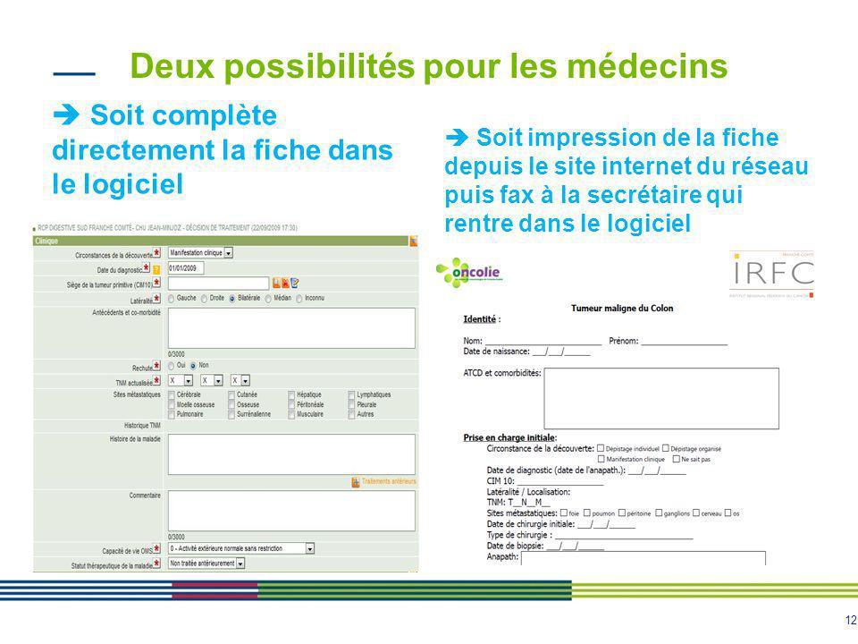 12 Deux possibilités pour les médecins Soit complète directement la fiche dans le logiciel Soit impression de la fiche depuis le site internet du rése