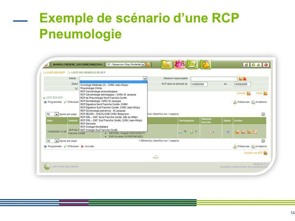 15 Exemple de scénario dune RCP Pneumologie Inscription à une RCP