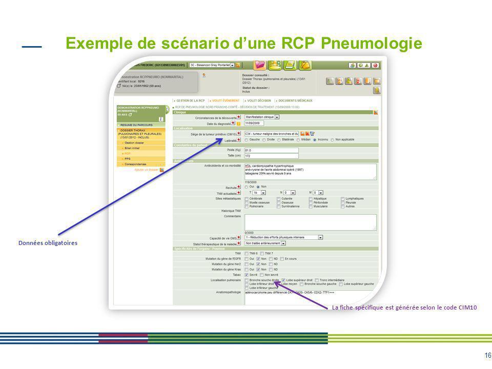 16 Données obligatoires La fiche spécifique est générée selon le code CIM10 Exemple de scénario dune RCP Pneumologie