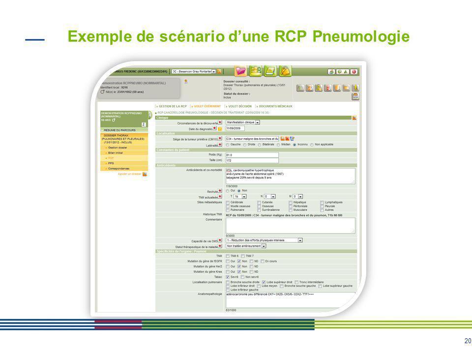 21 Exemple de scénario dune RCP Pneumologie Récupération de lhistoire de la maladie du patient ainsi que les décisions de RCP