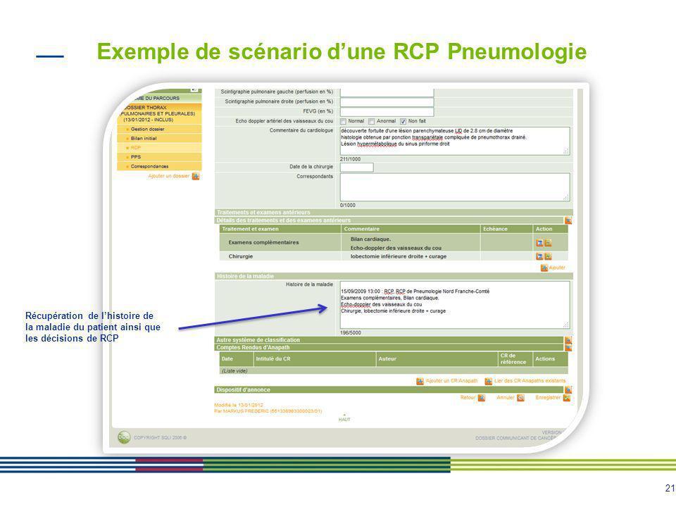 22 Exemple de compte rendu RCP Données fiche RCP spécifique Décision de la RCP Noms et spécialité des médecins présents