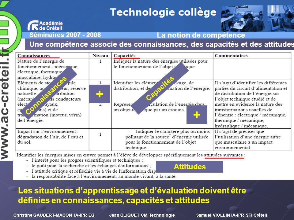 Séminaires 2007 - 2008 Christine GAUBERT-MACON IA-IPR EG Jean CLIQUET CM Technologie Samuel VIOLLIN IA-IPR STI Créteil La notion de compétence Une com
