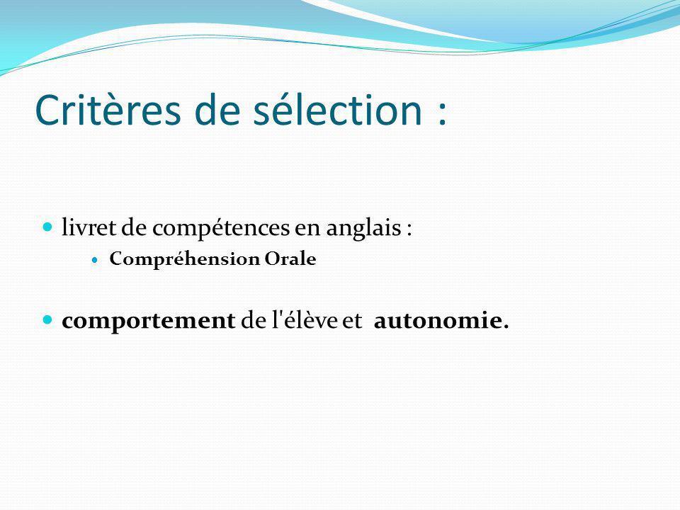 Critères de sélection : livret de compétences en anglais : Compréhension Orale comportement de l'élève et autonomie.