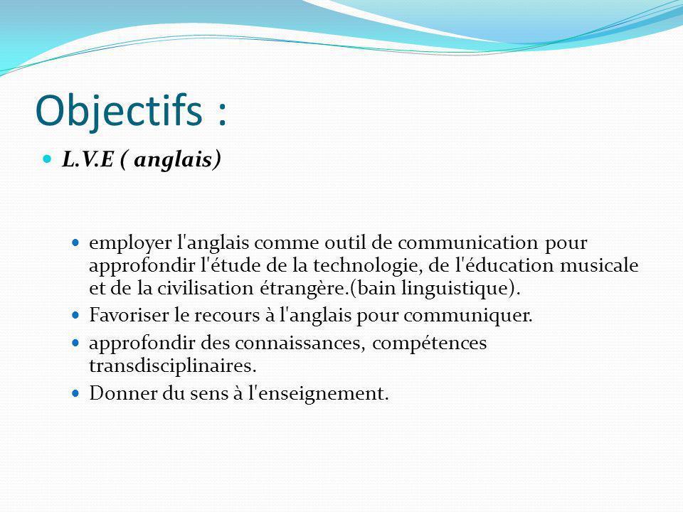 Objectifs : L.V.E ( anglais) employer l'anglais comme outil de communication pour approfondir l'étude de la technologie, de l'éducation musicale et de