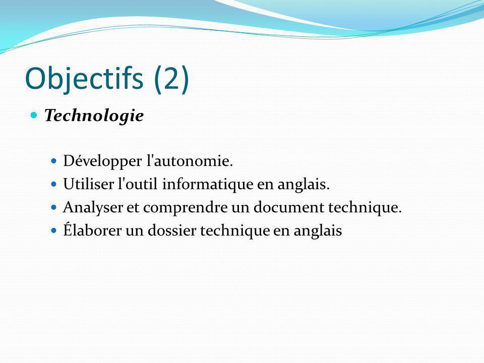 Objectifs (2) Technologie Développer l'autonomie. Utiliser l'outil informatique en anglais. Analyser et comprendre un document technique. Élaborer un