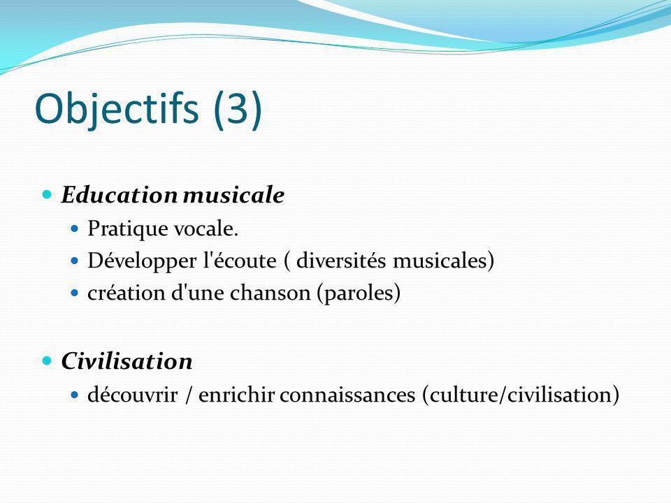 Objectifs (3) Education musicale Pratique vocale. Développer l'écoute ( diversités musicales) création d'une chanson (paroles) Civilisation découvrir