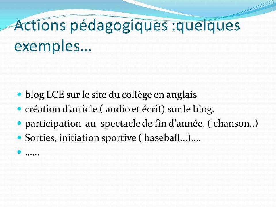 Actions pédagogiques :quelques exemples… blog LCE sur le site du collège en anglais création d'article ( audio et écrit) sur le blog. participation au