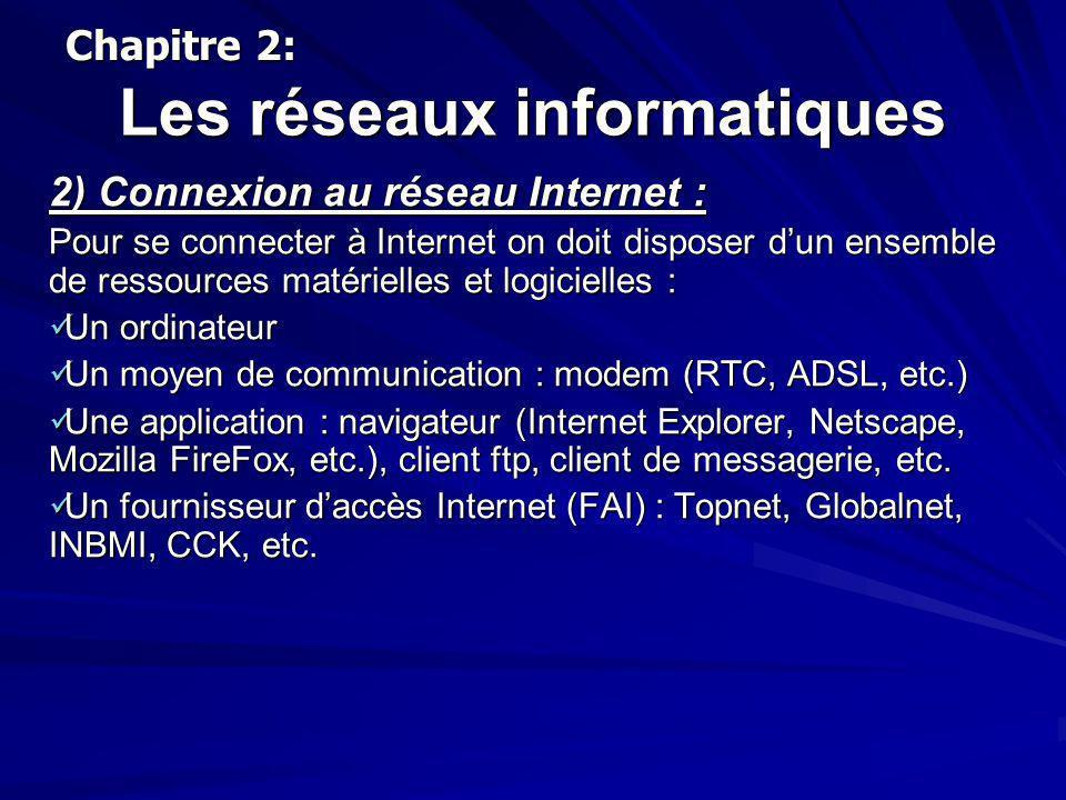 Les réseaux informatiques 2) Connexion au réseau Internet : Pour se connecter à Internet on doit disposer dun ensemble de ressources matérielles et lo