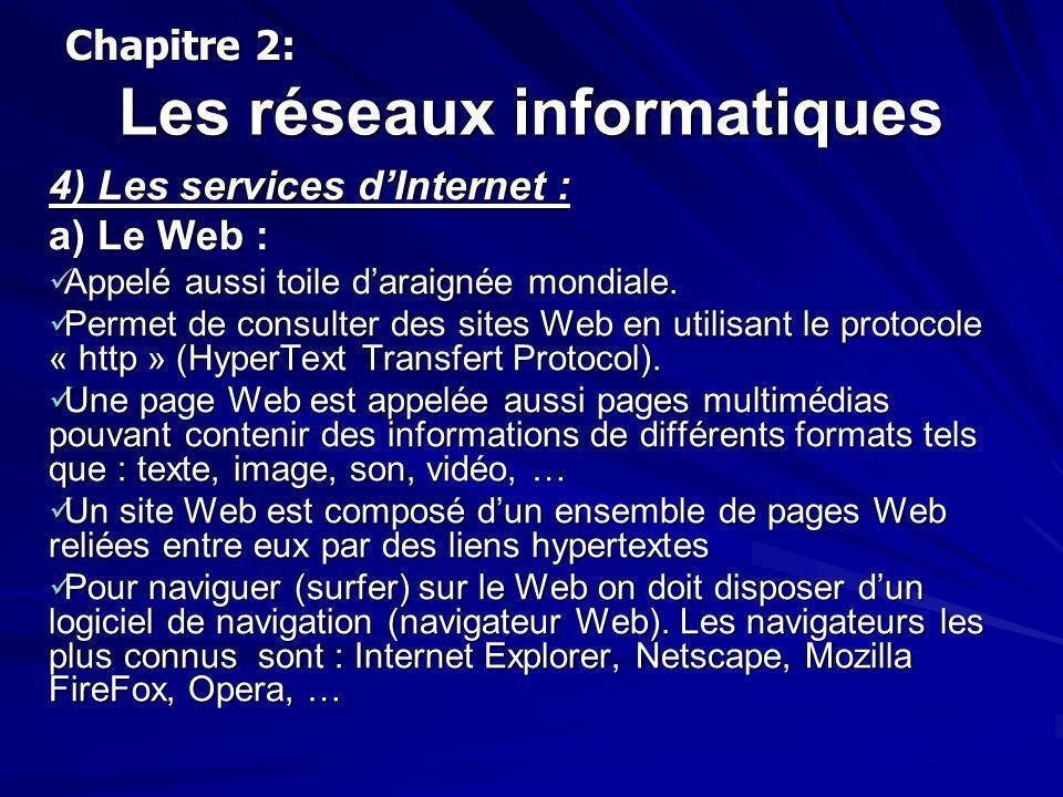 Les réseaux informatiques 4) Les services dInternet : a) Le Web : Appelé aussi toile daraignée mondiale. Appelé aussi toile daraignée mondiale. Permet