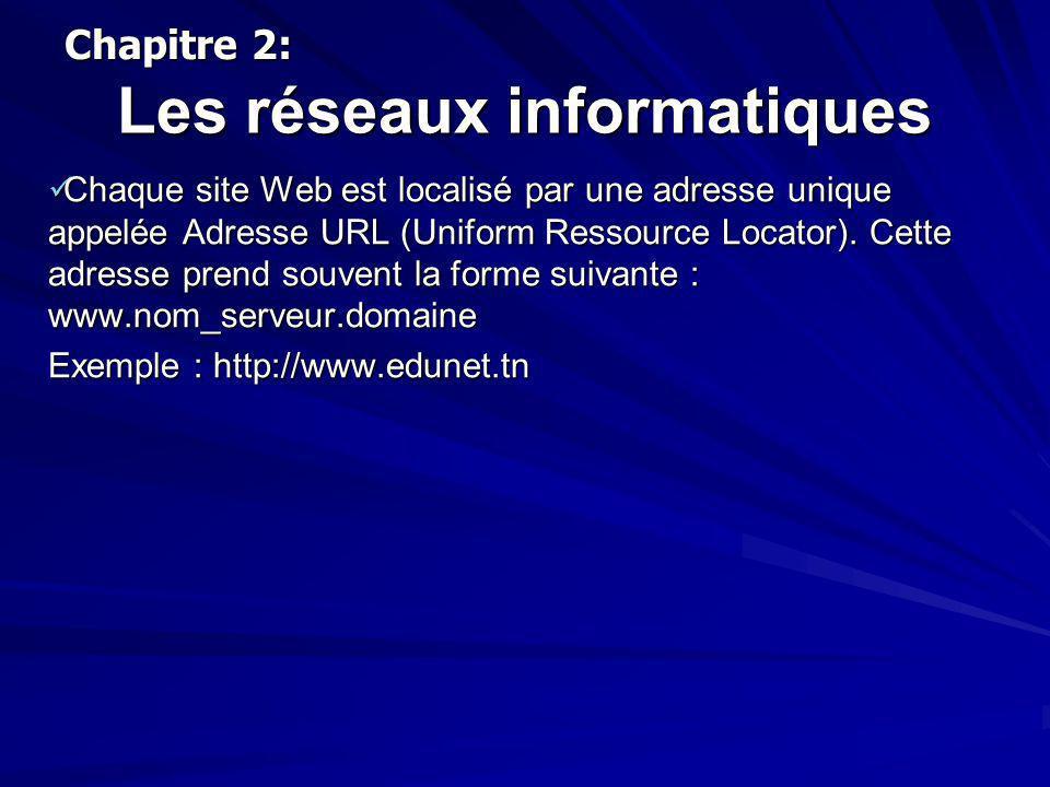 Les réseaux informatiques Chaque site Web est localisé par une adresse unique appelée Adresse URL (Uniform Ressource Locator). Cette adresse prend sou