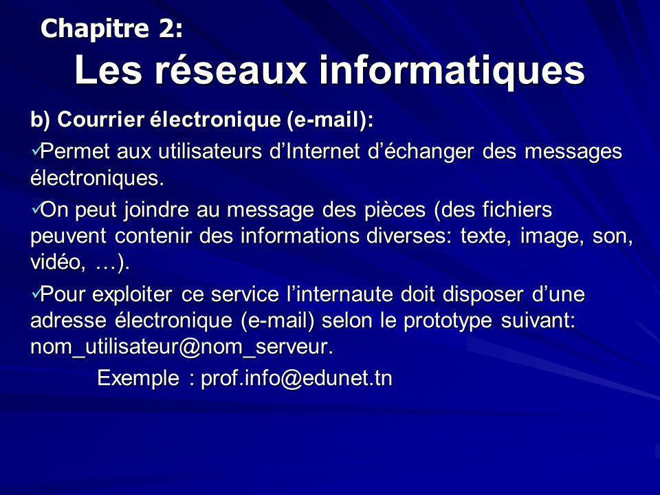 Les réseaux informatiques b) Courrier électronique (e-mail): Permet aux utilisateurs dInternet déchanger des messages électroniques. Permet aux utilis